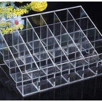 Clear Acrylic 24 Lipstick Holder Display Stand Cosmetic Organizer Makeup Case (Size: 14.5cmby9.5cm, Color: Transparent)