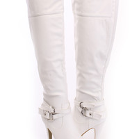 White Knee High Heel Boots Faux Leather