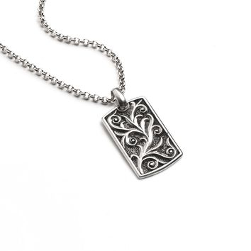 Scrollwork Dog Tag Necklace