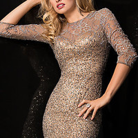 Short Sequin Dress with Half Sleeves by Scala