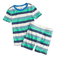 crewcuts Boys Short Pajama Set In Blade Green Stripe