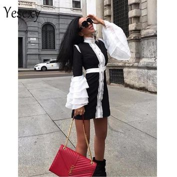 Yesexy 2019 Women Sexy Patchwork Women Mini Dresses Ruffles High Neck Flare Sleeve Button Bodycon Dresses VR9017