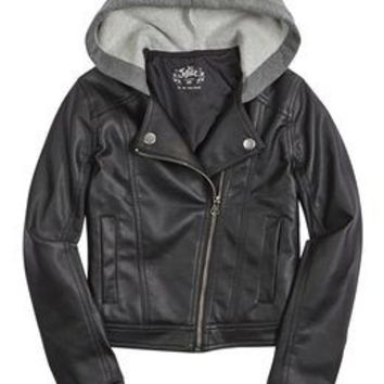 Hooded Moto Jacket | Girls Outerwear Clothes | Shop Justice