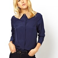 ASOS Blouse with Contrast Roll Collar at asos.com