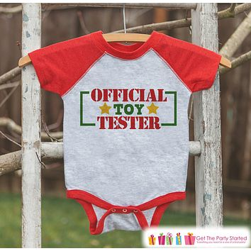 Funny Kids Christmas Outfit - Official Toy Tester Shirt - Funny Kids Christmas Shirt or Onepiece - Boy or Girl - Baby, Toddler, Youth Outfit