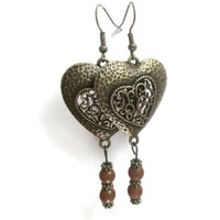 Vintage Filigree Heart and Beaded earrings - Charity Proceeds