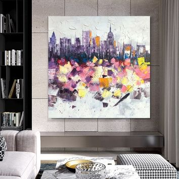 New York Modern Abstract Cityscape acrylic painting on canvas texture decor Wall Art for living room large  canvas art cuadros abstractos