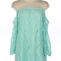 Dream Sequence Lace Off Shoulder Shift Dress in Mint | Sincerely Sweet Boutique