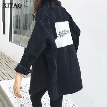 Trendy [XITAO] New 2018 Spring Korea Fashion Women Turn-down Collar Full Sleeve Single Breasted Hole Patch Designs Denim Jackets KZH458 AT_94_13