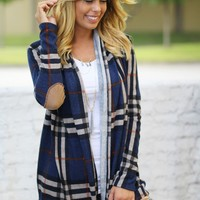 Navy Plaid Cardigan With Elbow Patches