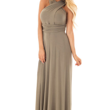 Sage Slinky Maxi Dress with Wrap Tie Waist Belt