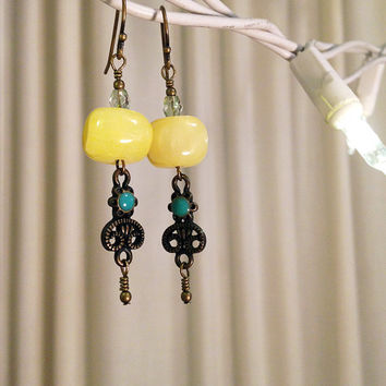 Brass Dangle Earrings; Yellow; Teal