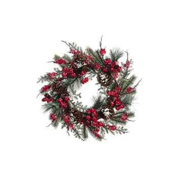 "24"" Iced Cranberry Red Berry and Pine Cone Artificial Christmas Wreath - Unlit"