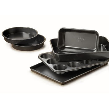Nonstick Complete Bakeware Set w Cookie Sheet,Cake Pan Loaf and Muffin Pan