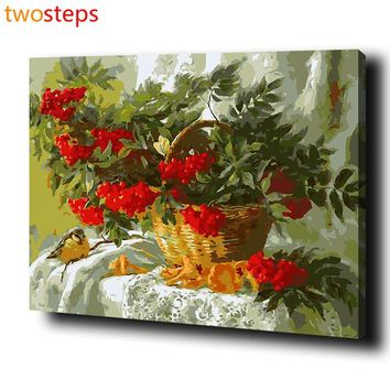 TwoSteps DIY Digital Canvas Oil Painting By Numbers Coloring By Numbers Modern Acrylic Paint By Number Kits Fruit Basket Bird