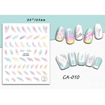 1 Sheet Feather/Word/Graphic Design Nail Art 3D Sticker Colorful Decals Tip Decoration DIY for Nails Accessories LACA010-018