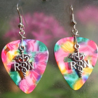 RN Registered Nurse Dangle Earrings, Professional Guitar Pick Jewelry, Choice 12 Colors, Pierced or Clip On