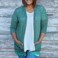 Everything And More Cardigan With Lace Trim And Pockets ~ Emerald ~ Sizes 12-18