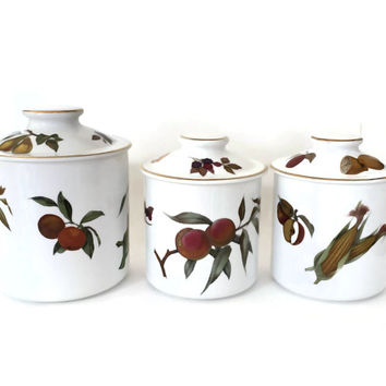 Royal Worcester Evesham Canister Set, Fine Porcelain Canisters, Vintage Canisters, Kitchen Canisters, Made in England, Wedding Gift