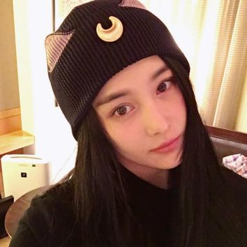 Anime Sailor Moon Cosplay Luna Cat Pattern Cartoon knitting wool cap Womens girls winter hat fashion casual cuteSkullies Beanies
