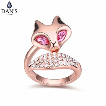 DAN'S Element 5 Colors Real Austrian Crystals Romantic Fashion Fox Rings For Women Valentine's Gift 114819Rose