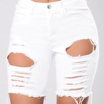 Gone Fishing Shorts - White