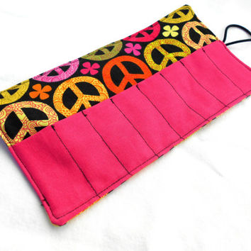 Peace Sign Crayon Roll - Pink Yellow Kids Crayon Roll, 8 Crayons
