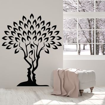 Vinyl Wall Decal Love Family Tree of Life Romance Man And Woman Face Stickers Unique Gift (2059ig)