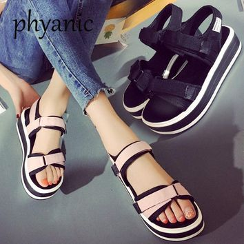 Phyanic 2018 Summer Korean muffin Open Toe women sandals with platform Wedge sandals simple shoes Casual students Summer Shoes