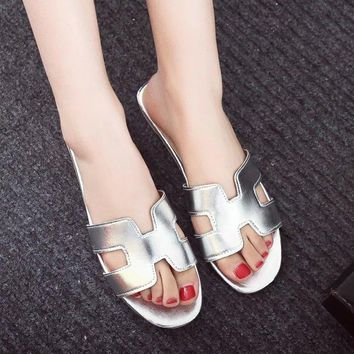 2017 Summer New H Brand vintage PU Soft Patent Leather Women Flats 8 color Sandals Loafers Slippers Shoes