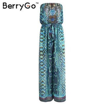 PEAPGC3 BerryGo Causal boho elastic chiffon drilling playsuit Summer beach leopard women jumpsuit romper Elegant sexy women overalls