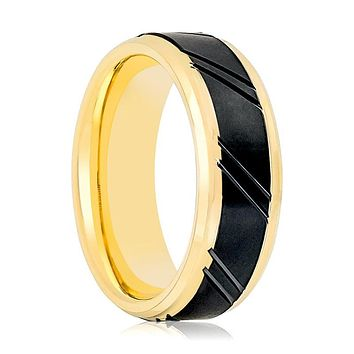 Aydins Gold & Black Mens Tungsten Wedding Band Brushed 8mm Black Diagonally Grooved Center Tungsten Carbide Wedding Ring