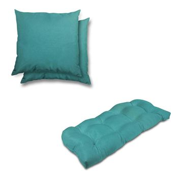 Stratford Home Indoor/ Outdoor Sunbrella Pillows and Bench Cushion Set (Aruba)