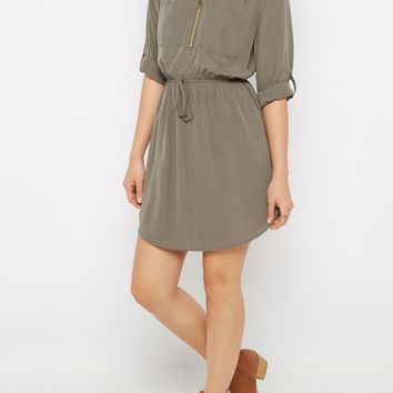 Red Zip Neck Shirt Dress | Casual Dresses | rue21