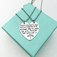 Weird love best friend split heart necklace, Partner in Crime Matching Necklace, Best Bitches Necklace, Soul sister split necklace