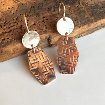 Hammered Earrings, Copper Earrings, Silver Filled, Dangle Earrings, Drop Earrings, Textured Earrings, Metalwork Earrings, Etsy, Etsy Jewelry