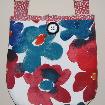Quilted Shoulder Bag , Cotton Canvas Cross Body Purse , Red/ Teal/White Modern Floral