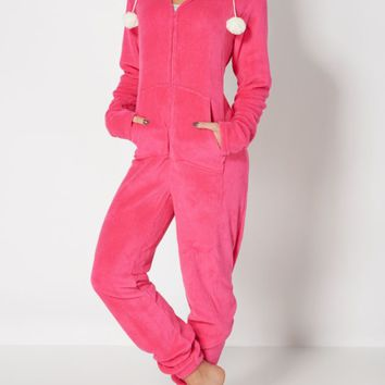 Fuchsia Animal Ears Hooded Plush Onesuit | Onesuits | rue21