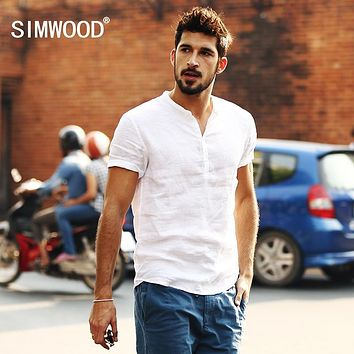 Short-sleeved Shirts Men 100% Linen White Solid Color Slim Fit Plus Size Collarless