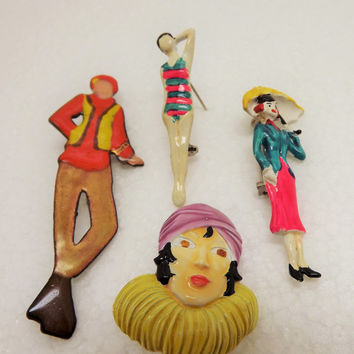 Art Deco Enameled Figural Brooches~Pins~1930's 40's Jewelry