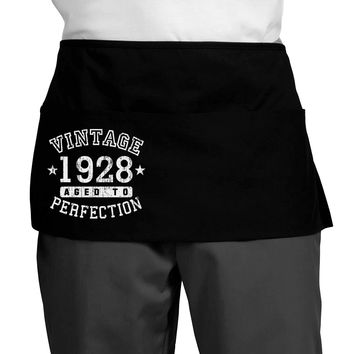 90th Birthday Vintage Birth Year 1928 Dark Adult Mini Waist Apron by