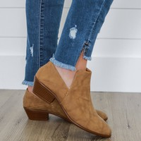 Smooth Strut Convertible Booties - Tan