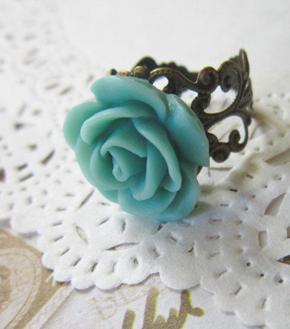 Turquoise Flower Cameo Ring - Filigree Blue Rose Cabochon