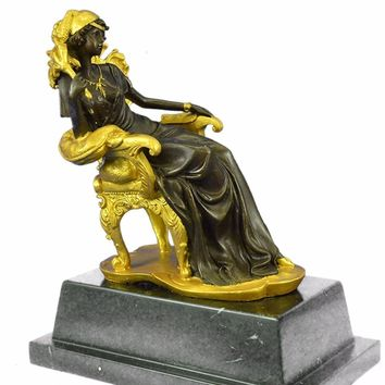 Victorian Beauty Sitting Bronze Sculpture on Marble Base Figurine