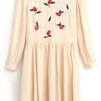 Embroidered Rose Pleated Long Sleeves Cream Dress