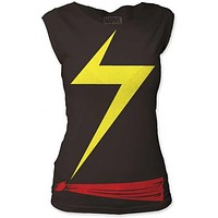 Ms. Marvel Suit Juniors Cut Tee