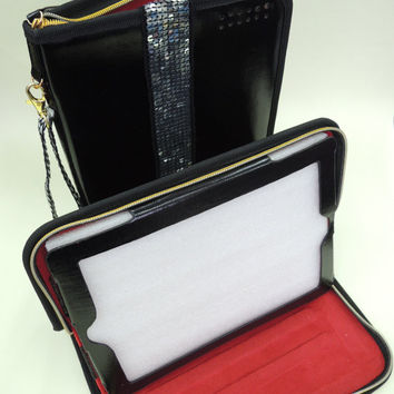 ipad case, 2, 3, 4, ipad mini,  case with built-in stand, case with zipper closure and wristlet.