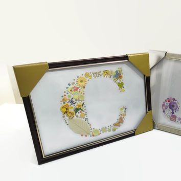 Personalised Letter C Initial Yellow Framed Nursery Birthday