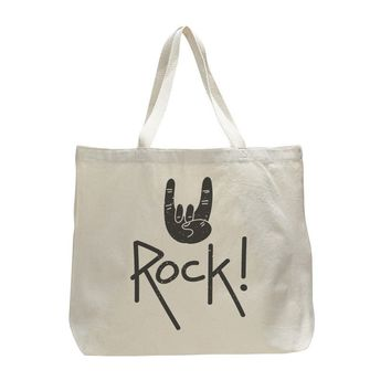 Rock on - Trendy Natural Canvas Bag - Funny and Unique - Tote Bag