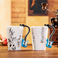 Creative Guitar Music Enamel Mug 250ml Ceramic Coffee Tea Cup Porcelain Zakka Novelty For Gift Cafe Teatime Office Home Decor